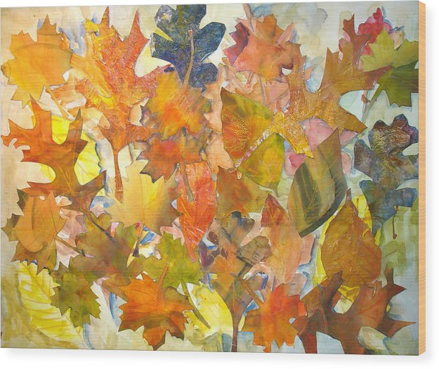 Autumn Wood Print featuring the mixed media Autumn Leaves by Joyce Kanyuk