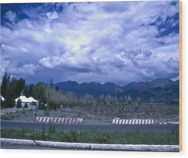 Landscape Wood Print featuring the photograph Kyrgyzstan Mountains by Wes Shinn