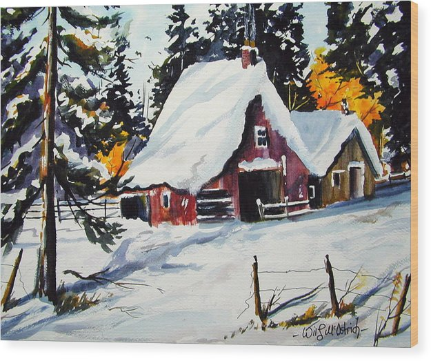 Quebec Sugar Shack At Grand Mere Wood Print featuring the painting Sugar Shack At Grande Mere by Wilfred McOstrich
