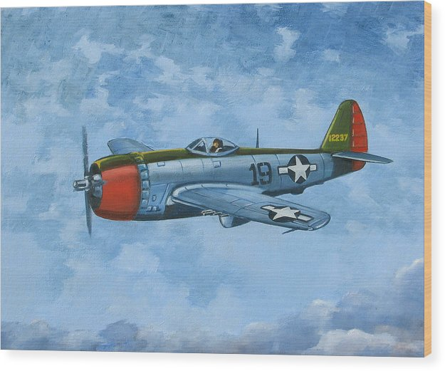 Airplanes Wood Print featuring the painting Thunderbolt by Murray McLeod