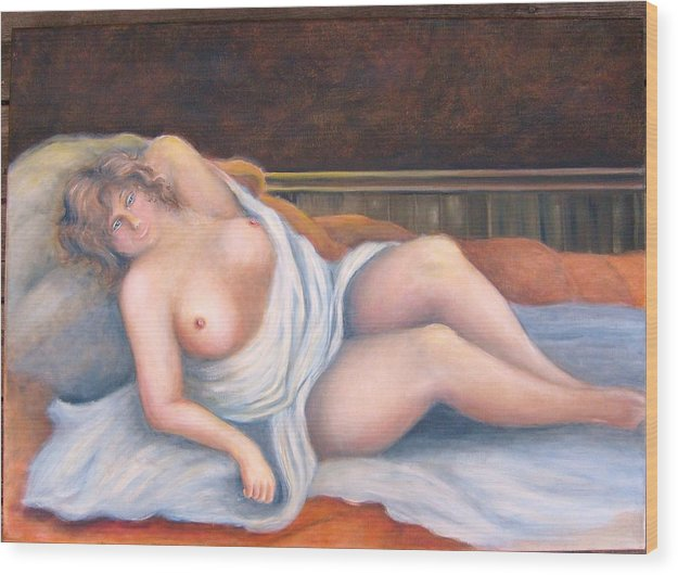 Nude Wood Print featuring the painting Nude Women by Lisa Carlen