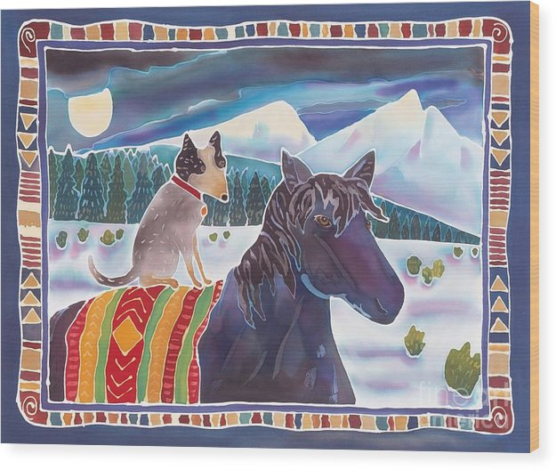 Horse Wood Print featuring the painting Winter Ride by Harriet Peck Taylor