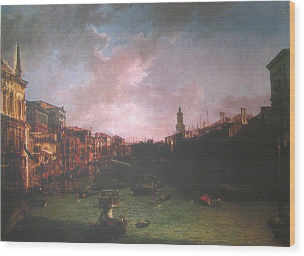 Landscape Wood Print featuring the painting After Canal Grande Looking Northeast by Hyper - Canaletto