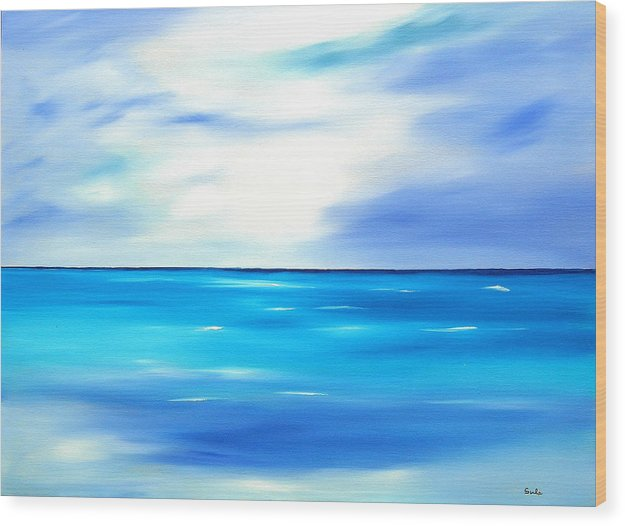Caribbean Wood Print featuring the painting Forever Azure by Sula Chance
