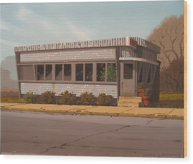 Diner Wood Print featuring the painting Holiday Diner by Robert P Waddington