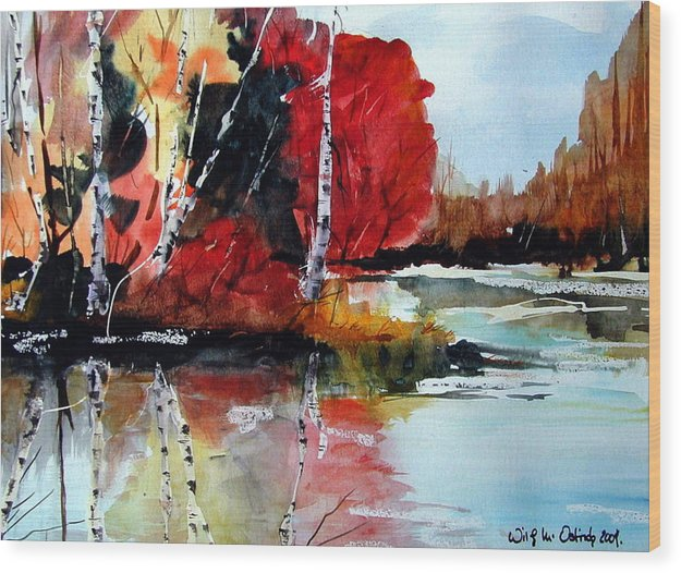 Landscape Wood Print featuring the painting The Colours Of Autum Definitely Red by Wilfred McOstrich