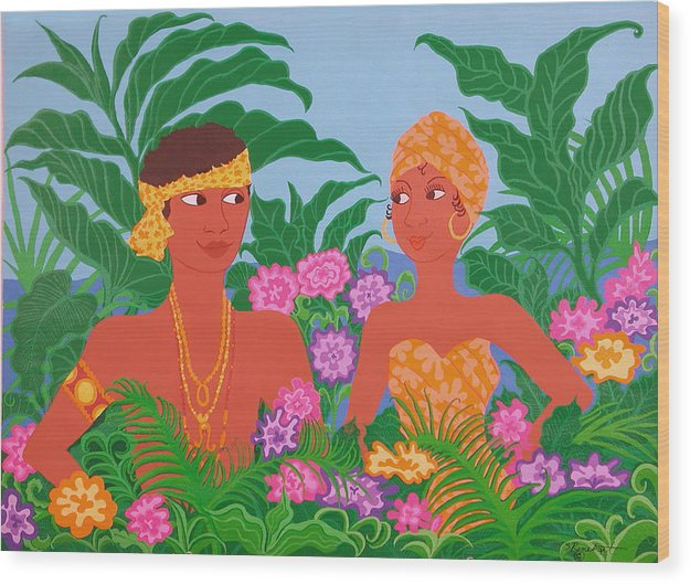 Tropicial Painting Wood Print featuring the painting Tropical Flirtation by Susan Rinehart