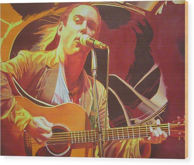 Dave Matthews Wood Print featuring the painting Dave Matthews At Vegoose by Joshua Morton