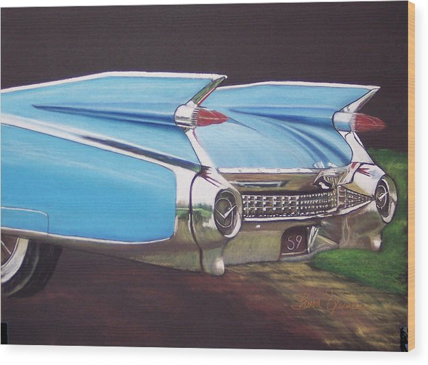 American Classic Car Wood Print featuring the pastel 1959 Cadillac by Sharon Quarles
