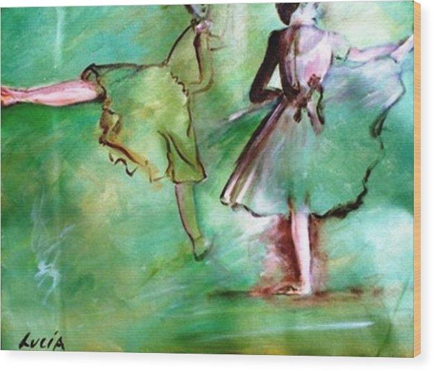Ballet. Ballerina. Print. Wood Print featuring the print Degas' Dancers by Carl Lucia