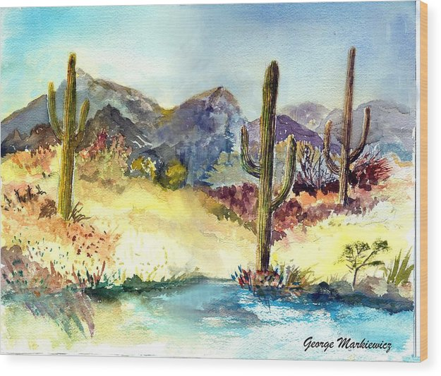 Desert Landscape Wood Print featuring the print Desert In The Morning by George Markiewicz