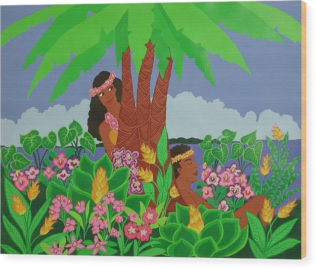 Tropical Wood Print featuring the painting Island Love by Susan Rinehart