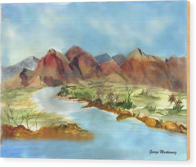 Desert Mountains And Water Wood Print featuring the print Mountain Range by George Markiewicz