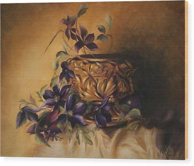 Still Life Wood Print featuring the painting Purple Clematis by Michelle Kerr