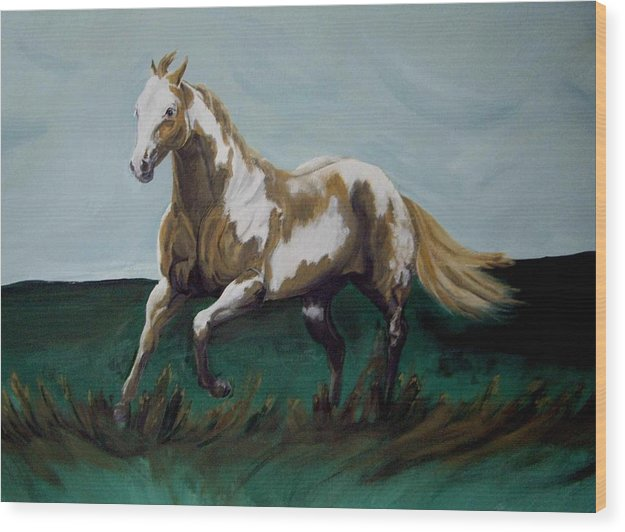 Horse Wood Print featuring the painting Running Paint by Glenda Smith