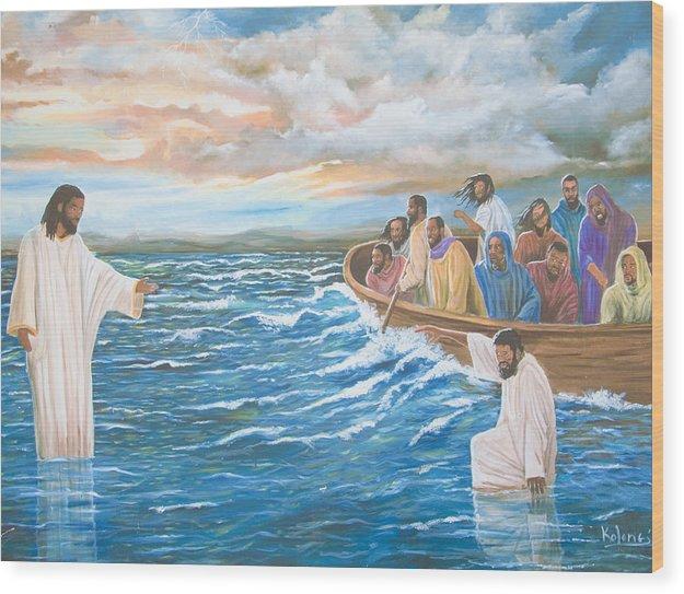 Wood Print featuring the drawing Jesus Walking On Water by Volmar Etienne