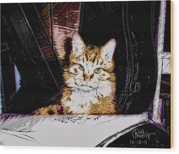 Cat Wood Print featuring the digital art Yellow Cat by Don Castillo