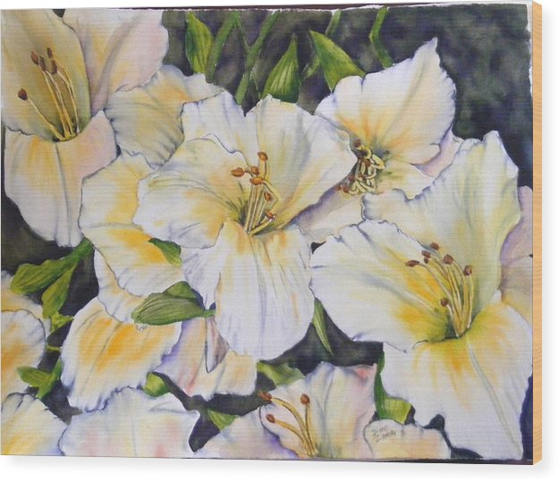 Floral Wood Print featuring the painting Daylilies by Diane Ziemski