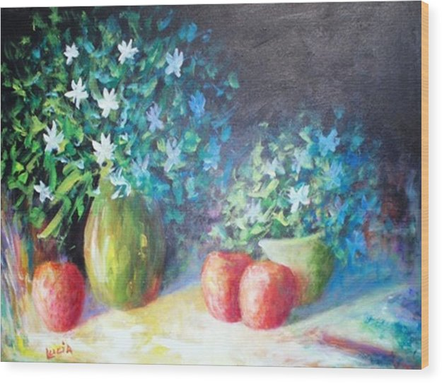 Floral Wood Print featuring the print Three Apples by Carl Lucia