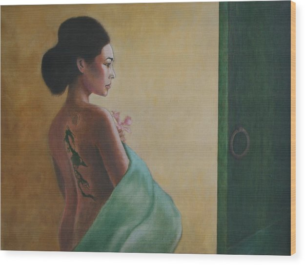 Portrait Wood Print featuring the painting Beyond The Green Door by Rf Hauver