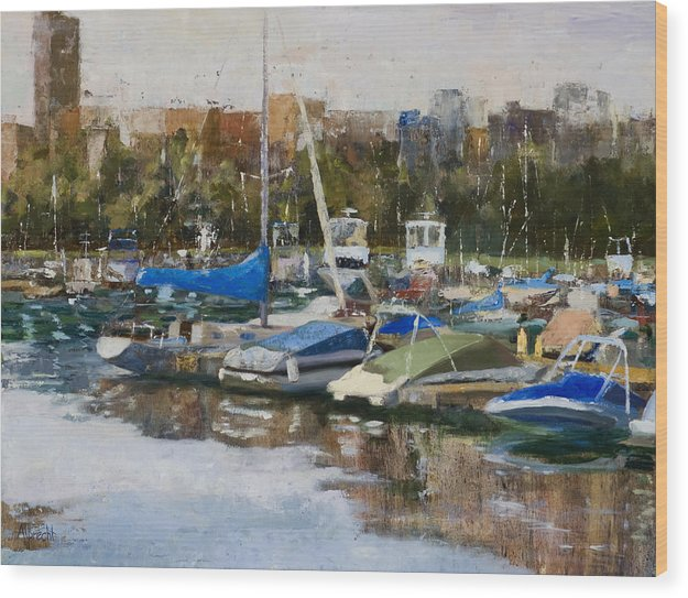 Cityscape Wood Print featuring the painting Boats In Montrose Harbor by Nancy Albrecht