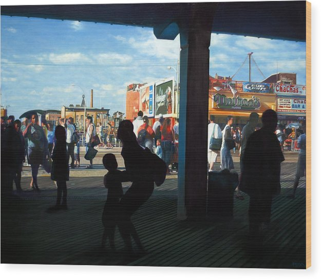 Coney Island Wood Print featuring the painting Coney Island Stroll by Randy Ford