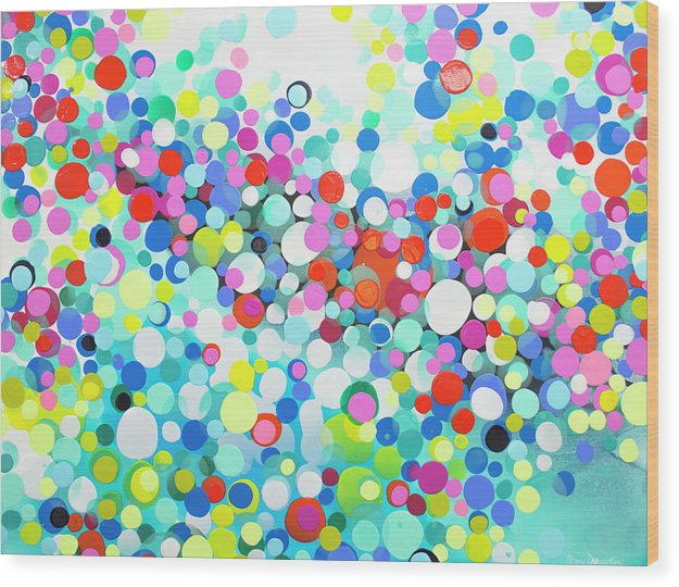 Abstract Wood Print featuring the painting Just Let It by Claire Desjardins