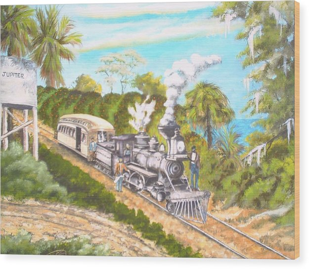 Florida History Wood Print featuring the painting Lake Worth And Jupiter by Dennis Vebert