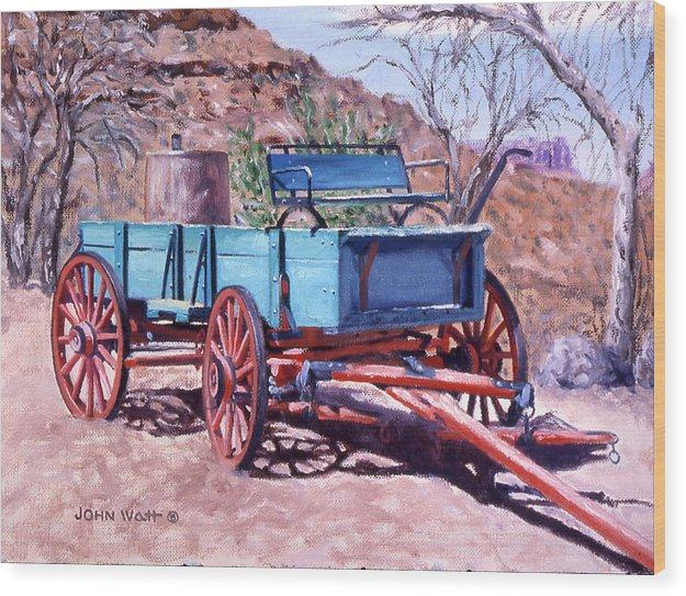 Navajo Indian Southwestern Monument Valley Wagons Wood Print featuring the painting Navajo Suv by John Watt