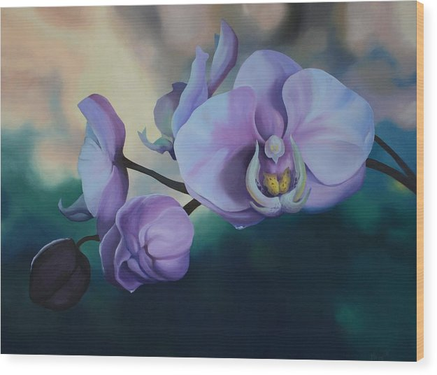 Oil On Canvas Wood Print featuring the painting Orchid Dew by Michael Vires