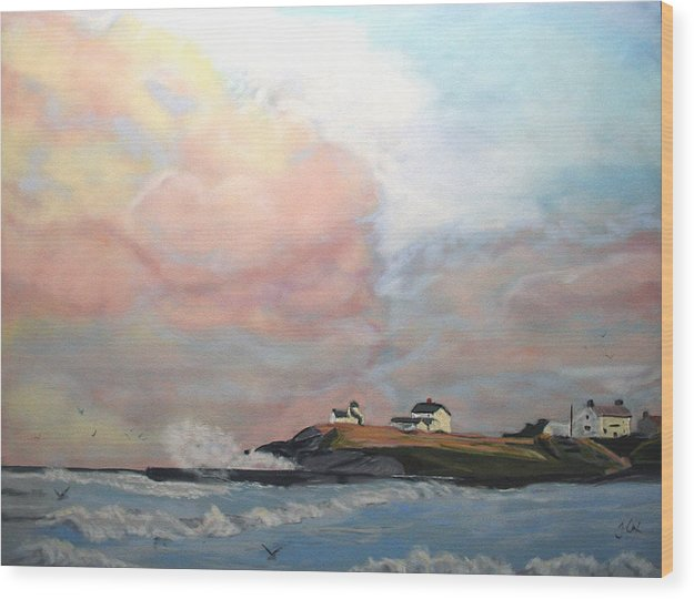 Seascape Wood Print featuring the painting Seaton Sluice. by John Cox