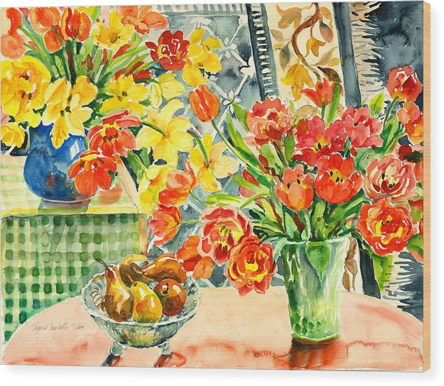 Watercolor Wood Print featuring the painting Studio Still Life by Alexandra Maria Ethlyn Cheshire