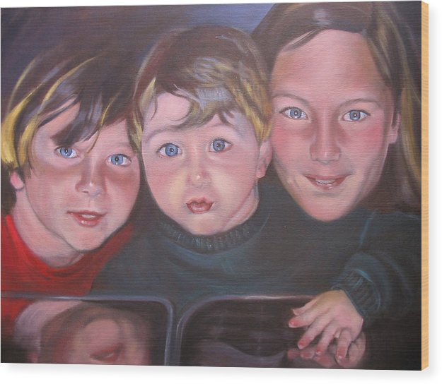 Children Portraits Wood Print featuring the painting The Grandkids by Kaytee Esser