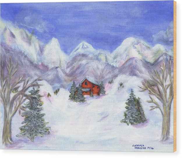 Winter Wood Print featuring the painting Winter Wonderland - Www.jennifer-d-art.com by Jennifer Skalecke