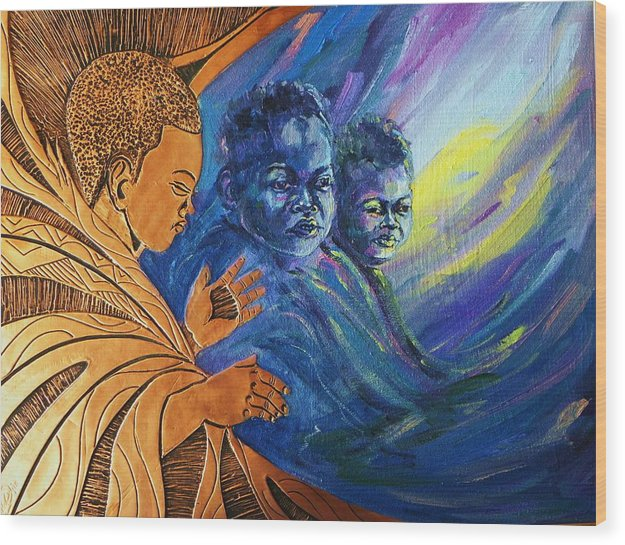 Mixed Media Wood Print featuring the mixed media Better Tomorrow II by Nduka f Onyia