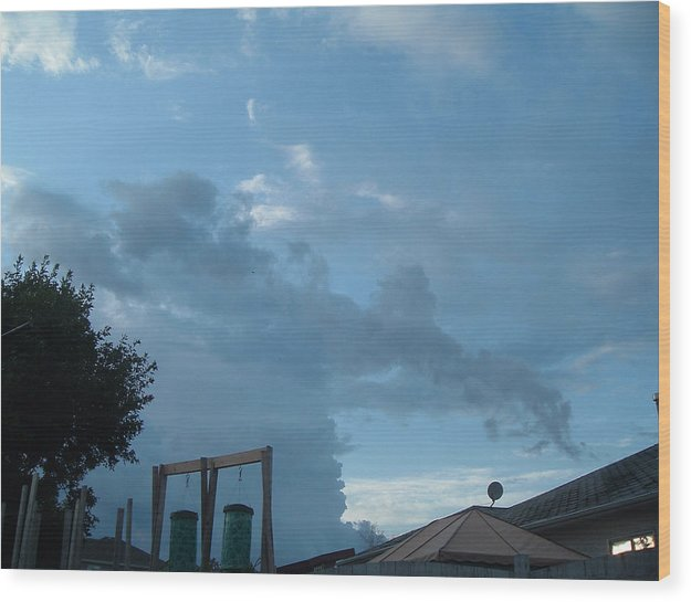 Sky Wood Print featuring the photograph Atmospheric Barcode 19 7 2008 18 Or Titan by Donald Burroughs