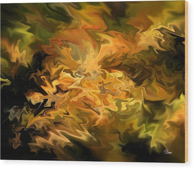 Abstract Wood Print featuring the digital art Color Storm by Tom Romeo