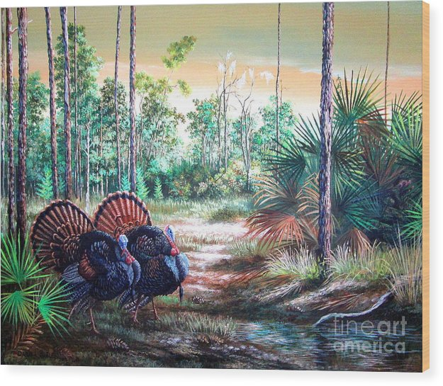 Florida Backwoods Wood Print featuring the painting Florida Osceola Turkeys- The Two Kings by Daniel Butler