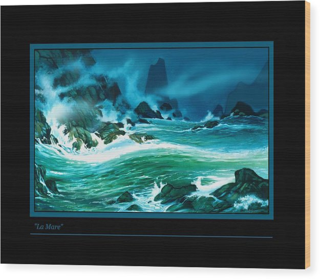 Seascape Wild Ocean Waves And Rocks Night Painting Wood Print featuring the painting La Mare by Walt Green