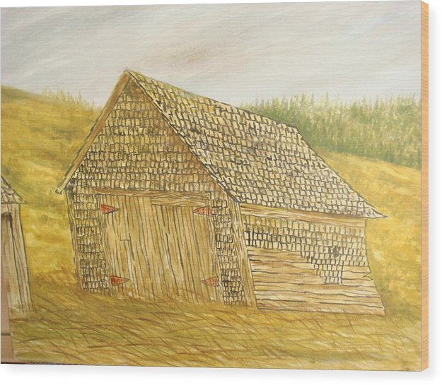 Barn Wood Print featuring the painting Leaning In by Norman F Jackson