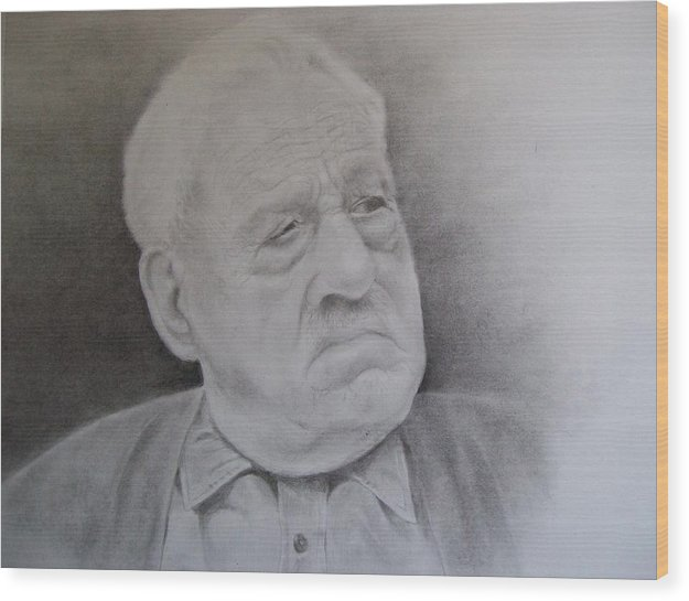 Portrait Wood Print featuring the drawing Papa Schupp by George Valdez