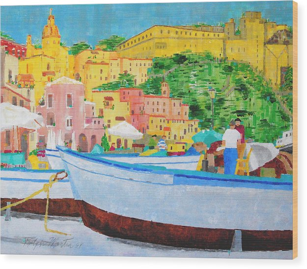 Boats Wood Print featuring the painting Procida by Art Mantia
