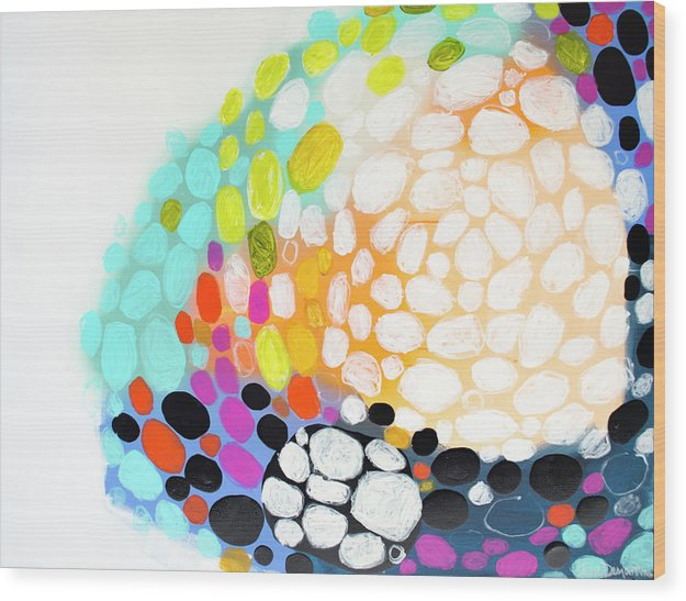 Abstract Wood Print featuring the painting When You Get Home by Claire Desjardins