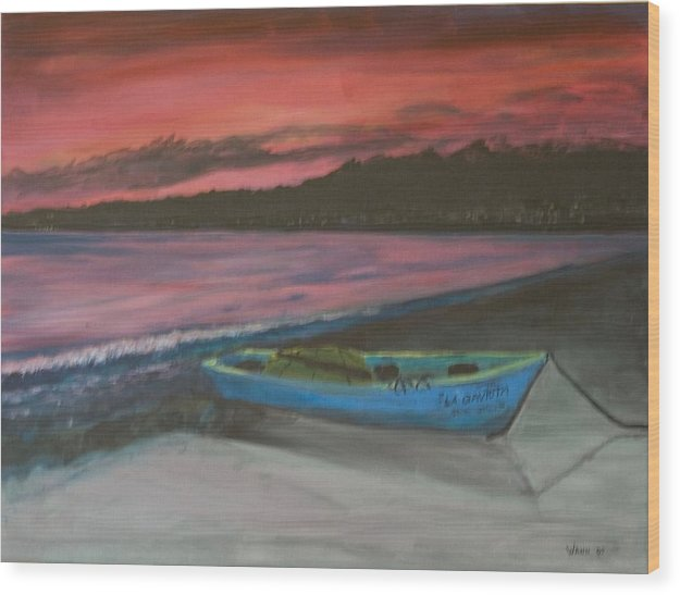 Seascape Wood Print featuring the painting Sunset Reflections by Anita Wann