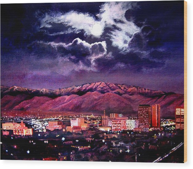 Albuquerque New Mexico At Night 112413 Wood Print By