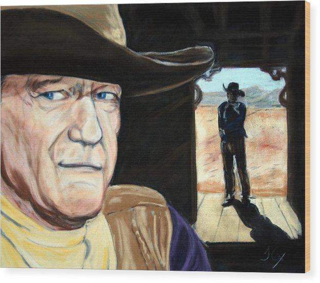 John Wayne. Film Star. Western. Cowboy. Wood Print featuring the painting John Wayne by John Cox