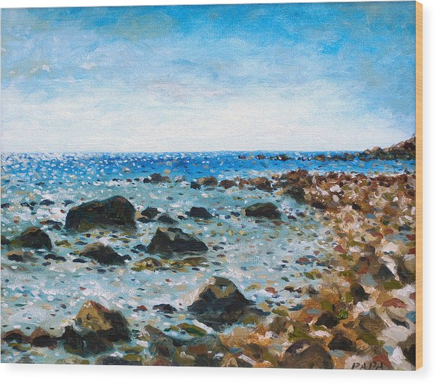 Montauk Wood Print featuring the painting On The Rocks At Montauk by Ralph Papa