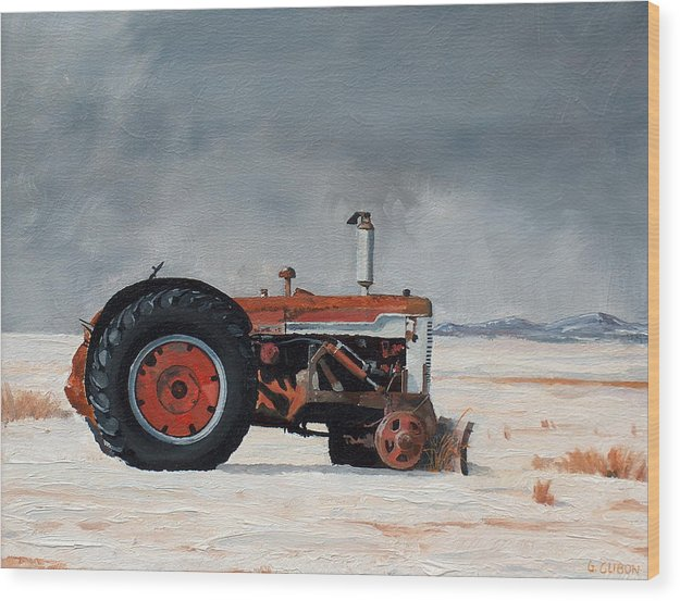 Tractor Wood Print featuring the painting Rusted Sentinel by Greg Clibon