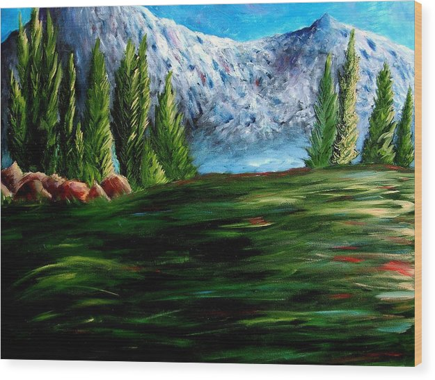 Landscape Wood Print featuring the painting Western Mountains by Brandon Sharp