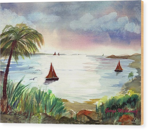 Island Boats Wood Print featuring the print Island Of Dreams by George Markiewicz